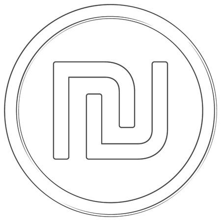 Vector shekel sign. Line art icon. Thin line illustration on white background