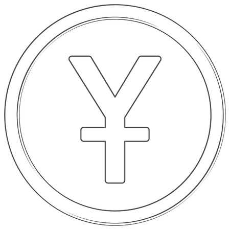Vector yuan sign. Line art icon. Thin line illustration on white background. Çizim