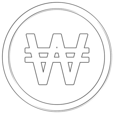 Vector won sign thin line icon on white background