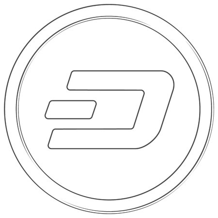 Dash - cryptocurrency coin. Vector thin line icon. Lineart illustration on white background. Internet money Çizim