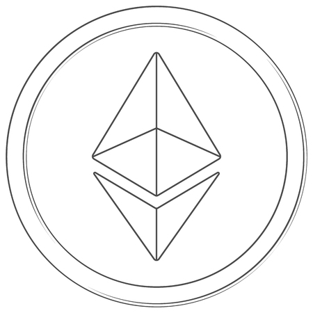 Ethereum - cryptocurrency coin. Vector thin line icon. Lineart illustration on white background. Internet money