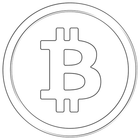 Bitcoin - cryptocurrency coin. Vector thin line bitcoin cash icon. Lineart illustration on white background. Internet money
