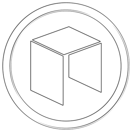 NEO - cryptocurrency coin. Vector thin line icon. Lineart illustration on white background. Internet money