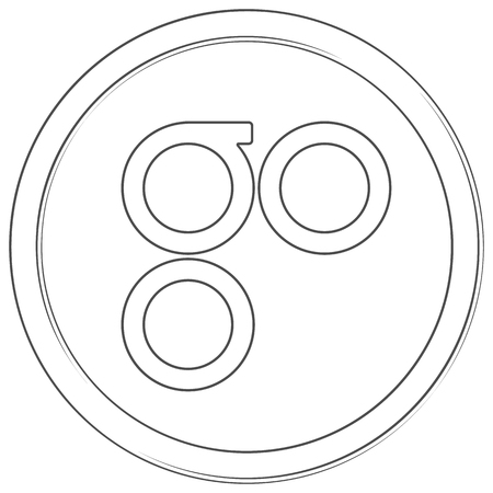 Omisego - cryptocurrency coin. Vector thin line icon. Lineart illustration on white background. Internet money