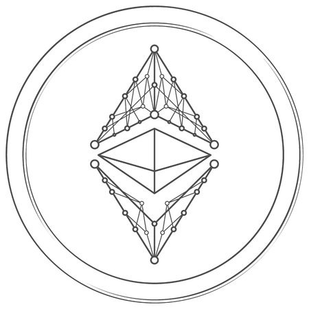Ethereum classic - cryptocurrency coin. Vector thin line icon. Lineart illustration on white background. Internet money