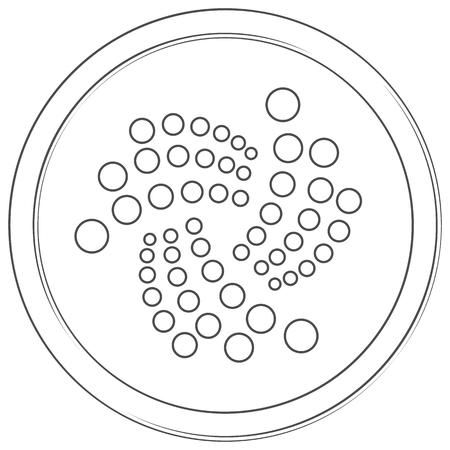 Iota- cryptocurrency coin. Vector thin line icon. Lineart illustration on white background. Internet money