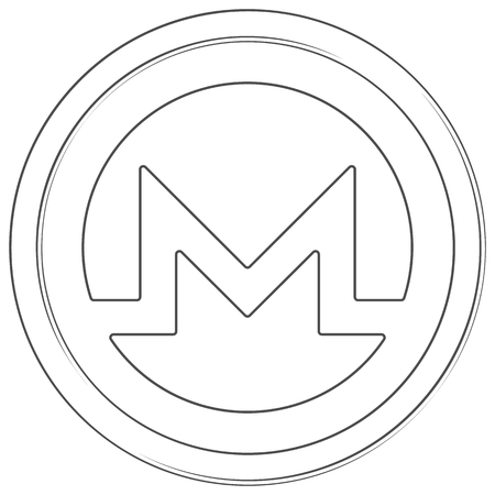 Monero - cryptocurrency coin. Vector thin line icon. Lineart illustration on white background. Internet money