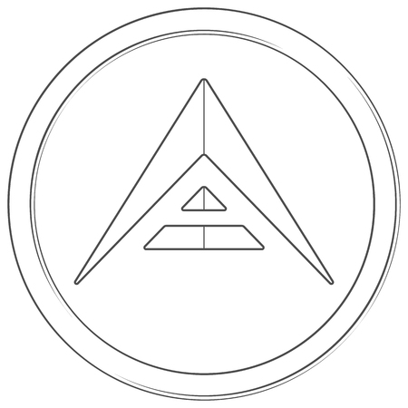 Ark - cryptocurrency coin. Vector thin line icon. Lineart illustration on white background. Internet money