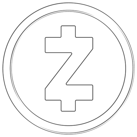 Zcash - cryptocurrency coin. Vector thin line icon. Lineart illustration on white background. Internet money