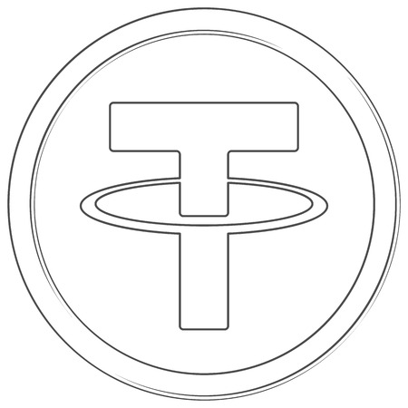 Tether - cryptocurrency coin. Vector thin line icon. Lineart illustration on white background. Internet money