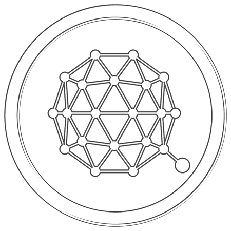 Qtum - cryptocurrency coin. Vector thin line icon. Lineart illustration on white background. Internet money Çizim