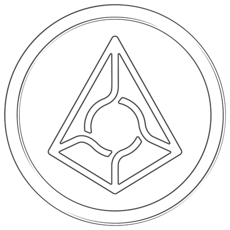 Augur - cryptocurrency coin. Vector thin line icon. Lineart illustration on white background. Internet money Çizim