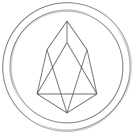 Eos - cryptocurrency coin. Vector thin line icon. Lineart illustration on white background. Internet money
