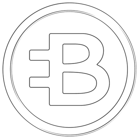 Bytecoin - cryptocurrency coin. Vector thin line icon. Lineart illustration on white background. Internet money Çizim