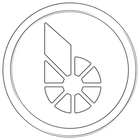 Bitshares - cryptocurrency coin. Vector thin line icon. Lineart illustration on white background. Internet money
