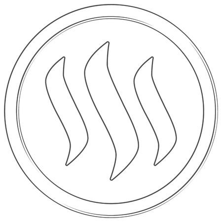 Steem - cryptocurrency coin. Vector thin line icon. Lineart illustration on white background. Internet money Çizim