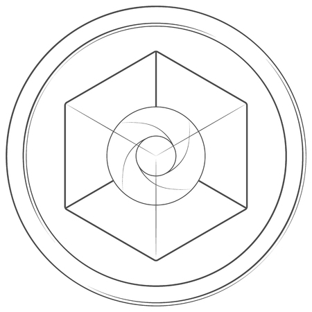 Expanse - cryptocurrency coin. Vector thin line icon. Lineart illustration on white background. Internet money