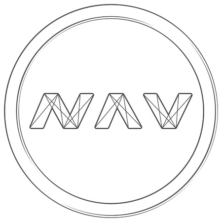 Navcoin - cryptocurrency coin. Vector thin line icon. Lineart illustration on white background. Internet money