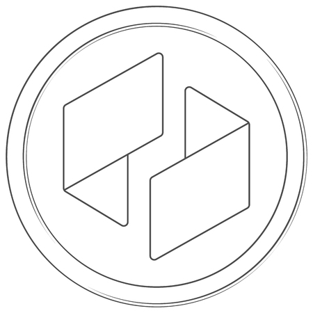 Ubiq - cryptocurrency coin. Vector thin line icon. Lineart illustration on white background. Internet money Çizim