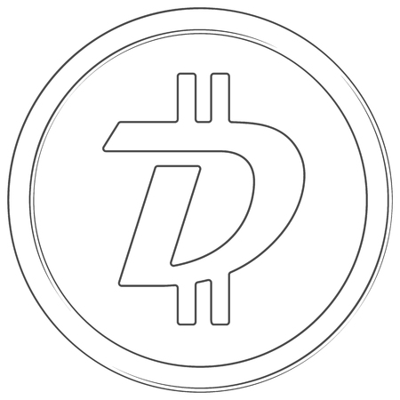 Digibyte - cryptocurrency coin. Vector thin line icon. Lineart illustration on white background. Internet money