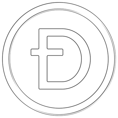 Dashcoin - cryptocurrency coin. Vector thin line icon. Lineart illustration on white background. Internet money