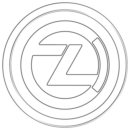 Zclassic - cryptocurrency coin. Vector thin line icon. Lineart illustration on white background. Internet money Çizim