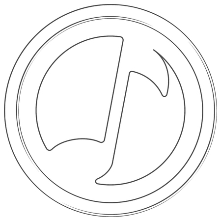 Musicoin - cryptocurrency coin. Vector thin line icon. Lineart illustration on white background. Internet money