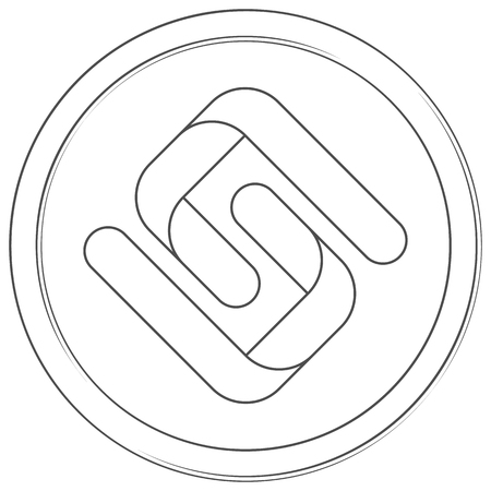 Pirl - cryptocurrency coin. Vector thin line icon. Lineart illustration on white background. Internet money