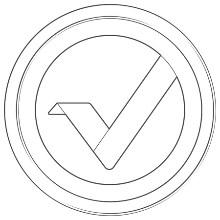 Vertcoin - cryptocurrency coin. Vector thin line icon. Lineart illustration on white background. Internet money