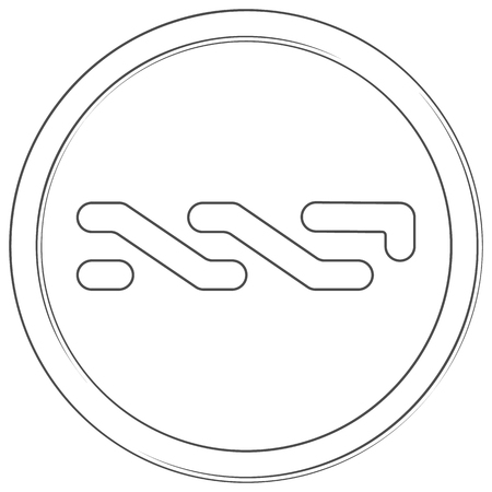 Nxt - cryptocurrency coin. Vector thin line icon. Lineart illustration on white background. Internet money Çizim