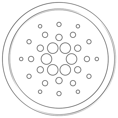 Cardano - cryptocurrency coin. Vector thin line icon. Lineart illustration on white background. Internet money
