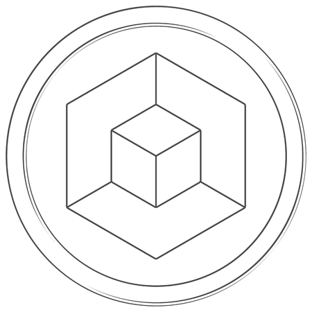 Russian miner coin - cryptocurrency coin. Vector thin line icon. Lineart illustration on white background. Internet money Çizim