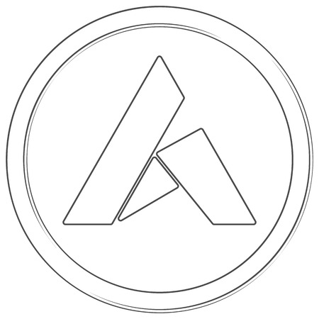 Ardor - cryptocurrency coin. Vector thin line icon. Lineart illustration on white background. Internet money