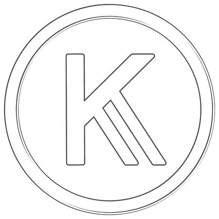 Vector shilling kenyan sign. Lineart icon. Thin line illustration on white background Çizim