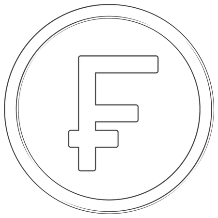 Vector franc swiss sign. Lineart icon. Thin line illustration on white background