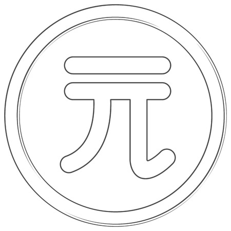 Vector taiwanese dollar sign. Lineart icon. Thin line illustration on white background