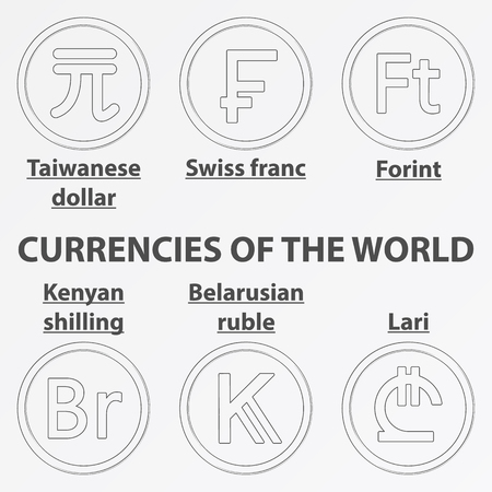 Set of six lineart icon with currency signs of the world. Lineart swiss franc, taiwanese dollar, forint, kenyan shilling, belarusian ruble and lari.