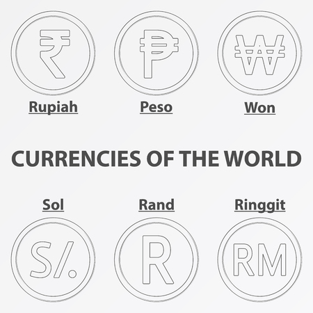 Set of six lineart icon with currency signs of the world. Lineart rupiah, peso, won, sol, rand and ringgit.