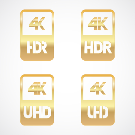 4K Ultra HD and HDR gold icon set. Vector illustration on white background