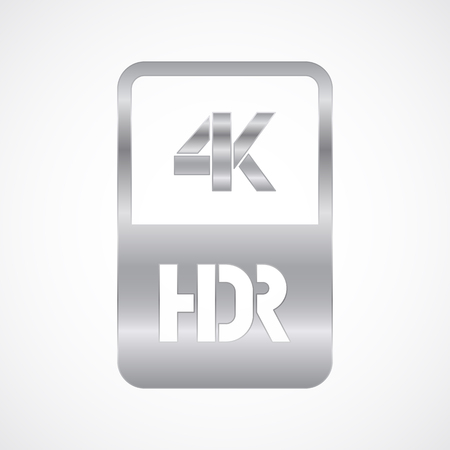 4K HDR format silver and cut icon. Pure vector illustration on white background