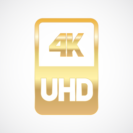 4K Ultra HD format gold icon. Pure vector illustration on white background
