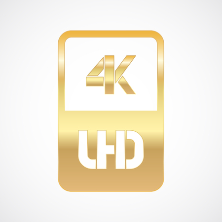 4K Ultra HD format gold and cut icon. Pure vector illustration on white background Çizim
