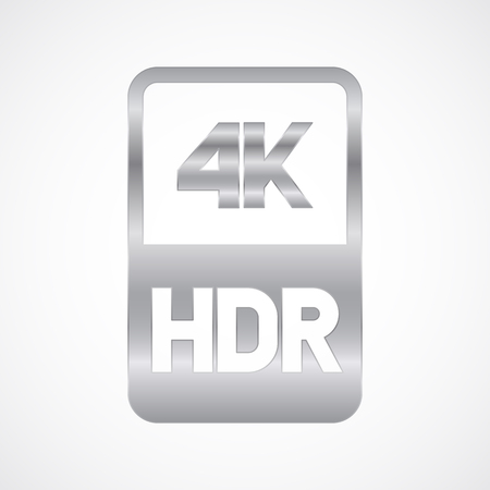 4K HDR format silver icon. Pure vector illustration on white background