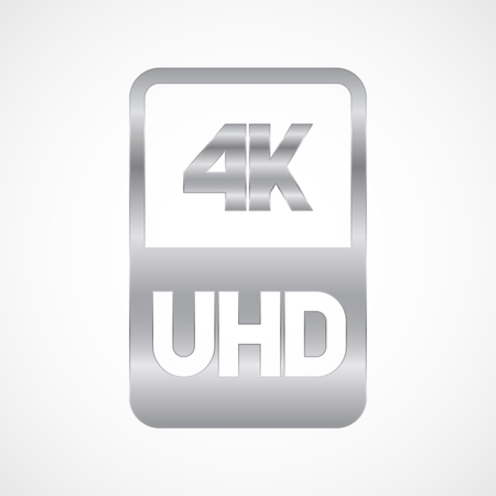 4K Ultra HD format silver icon. Pure vector illustration on white background Stok Fotoğraf - 106918559