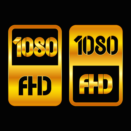 1080 Full HD format gold and cut icon. Pure vector illustration on black background Stok Fotoğraf - 115806526