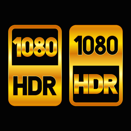 1080 HDR format gold icon. Pure vector illustration on black background Çizim