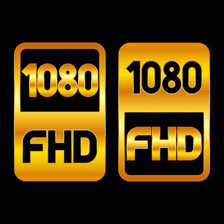 1080 Full HD format gold icon. Pure vector illustration on black background Stok Fotoğraf - 115806528