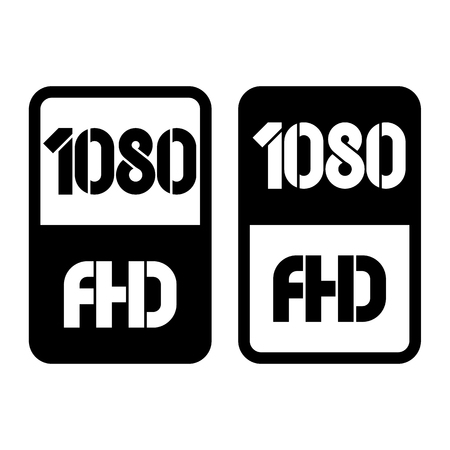 1080 Full HD format black and cut icon. Pure flat vector illustration on white background