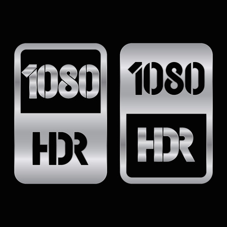 1080 HDR format silver and cut icon. Pure vector illustration on black background