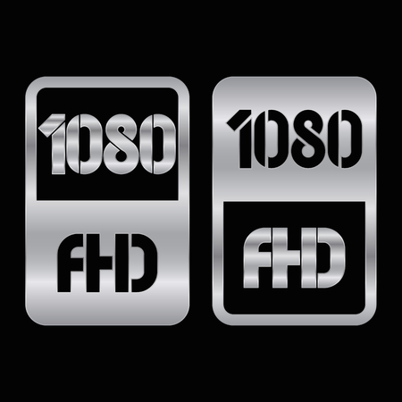 1080 Full HD format silver and cut icon. Pure vector illustration on black background